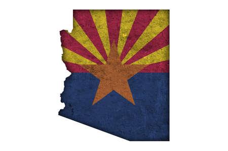 Photo pour Map and flag of Arizona on weathered concrete - image libre de droit
