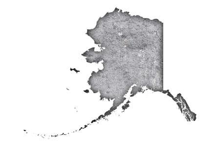 Photo pour Map of Alaska on weathered concrete - image libre de droit