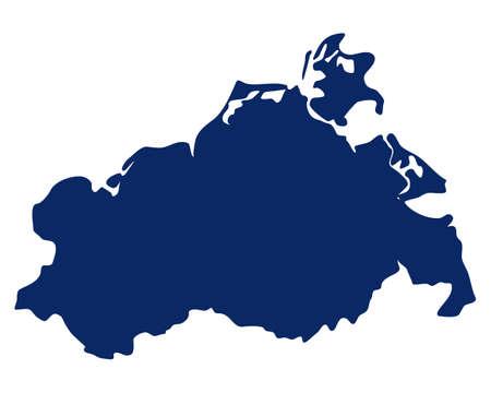 Map of Mecklenburg-Western Pomerania in blue color