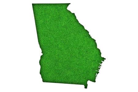 Photo pour Map of Georgia on green felt - image libre de droit