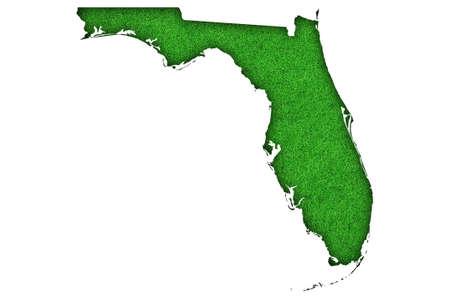 Photo pour Map of Florida on green felt - image libre de droit
