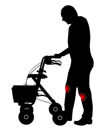 Man with knee pain and rollator