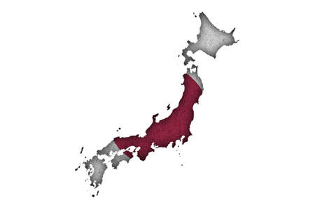 Photo pour Map and flag of Japan on felt - image libre de droit