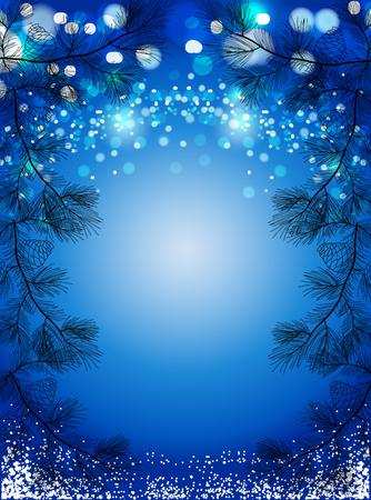 Ilustración de Blue Christmas background with snow and black pine spruces, sparkling winter vector background. - Imagen libre de derechos