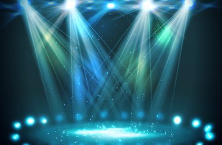 Illustration pour Stage spotlights blue . Vector illustration - image libre de droit