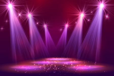 Illustration pour Spotlights on stage with smoke  light. Vector illustration. - image libre de droit
