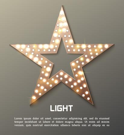 Illustration pour Star retro light banner. Vector illustration - image libre de droit