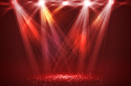Ilustración de Spotlights on stage with smoke & light. Vector illustration. - Imagen libre de derechos