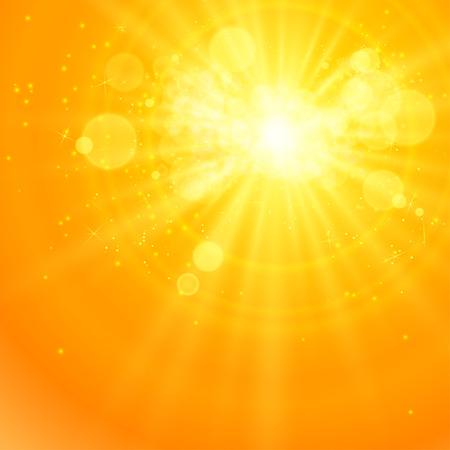 Ilustración de Shiny sun vector, sunbeams, sunrays, bokeh and space for your text - Imagen libre de derechos
