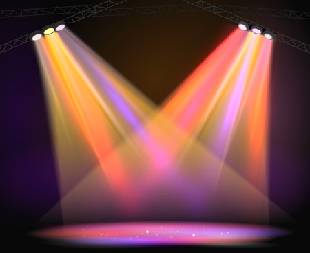 Illustration pour Background image of spotlights with stage in color - image libre de droit