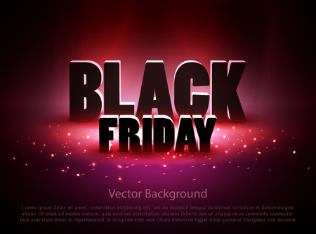 Illustration for Black friday sale background with red lights. Vector illustration - Royalty Free Image