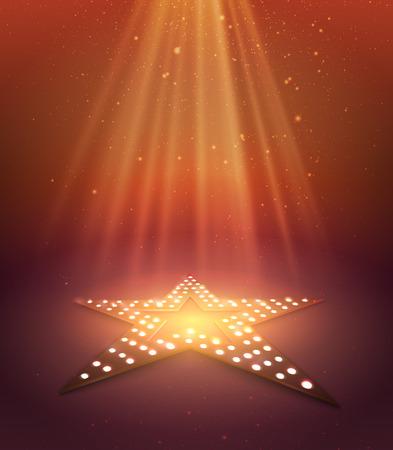 Illustration pour Star orange retro light banner. Vector illustration - image libre de droit