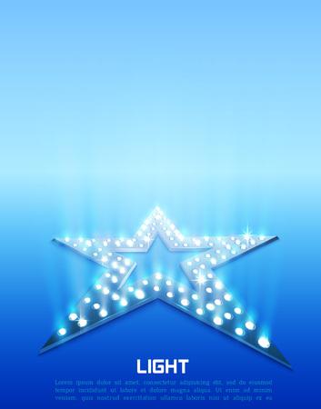 Illustration pour Star retro blue light banner. Vector illustration - image libre de droit