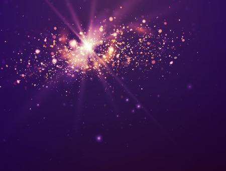 Illustration pour Violet Christmas background. Purple Festive Backdrop with Lights and Stars. - image libre de droit