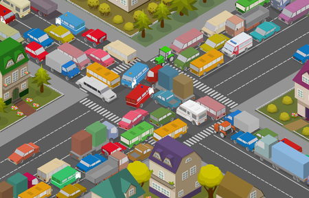 Illustration for Traffic Jam. Isometric Cars and Houses for Illustration Of Busy Road. Vector - Royalty Free Image
