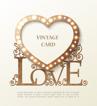 Shine heart with love and shadow, vintage card. Vector