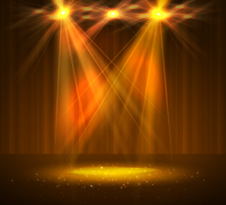 Illustration pour Spotlight on stage with smoke and light. Vector illustration. - image libre de droit