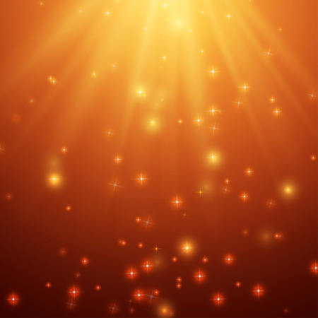 Illustration for Red and Orange Background With Stars and Rays, vector - Royalty Free Image