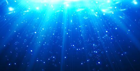 Illustration pour Deep Water Bubbles Dark Blue Color Illuminated By Rays Of Light Vector Illustration - image libre de droit