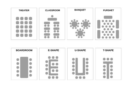 Illustration pour A set of schemes for arranging seats. The chairs and the tables in meeting rooms, conference halls and other places. - image libre de droit