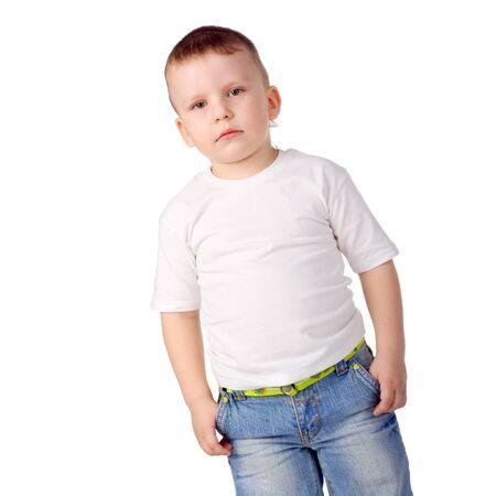 Photo pour closeup image of the cute little boy in jeans - image libre de droit