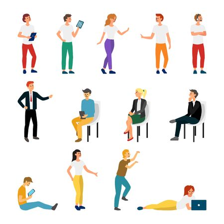 Illustration for Collection Creative Various Lifestyle Character. Set Crowd of People Performing Activity. Flat style. Vector Illustration. - Royalty Free Image