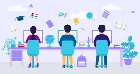 E learning concept With Abstract Background. Young People Are Using Computers for Distance Studying and Education In The Classroom. Flat Style. Vector Illustration