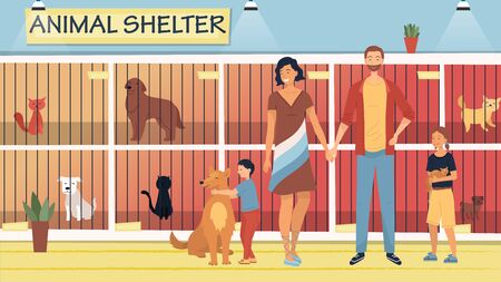 Illustration pour Concept Of Animal Shelter for Stray Pets. Kind People Help Homeless Animals. Family Adopting Dog And Cat From Shelter. Illustration With Pets Sitting in Cages. Cartoon Flat Style. Vector Illustration - image libre de droit