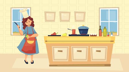 Illustration pour Concept Of Culinary. Professional Chef In Uniform Cooking Meal On Kitchen. Woman Is Standing Holding Kitchen Knife And Paprika In Culinary Studio Or At Home. Cartoon Flat Style. Vector Illustration - image libre de droit