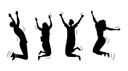 Illustration pour Jumping Happy People Set. Silhouettes Of Young Funny Teens Boys And Girls Jumping Together. Joy Lifestyle, Happy And Success In Studying, Business Or Personal Life. Cartoon Flat Vector Illustration. - image libre de droit