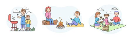 Family Picnic Time Concept Set Of Families Spending Time Together Outdoors Characters Communicate And Have Good Time Together On Vacations Cartoon Linear Outline Flat Style Vector Illustration Royalty Free Vector Graphics