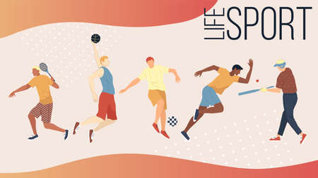 Illustration pour Active Kinds Of Sports Concept. Group Of People Performing Sports Activities Outdoors. Men And Women Play Basketball Football, Golf, Tennis, Baseball And Run Sprint. Cartoon Flat Vector Illustration - image libre de droit