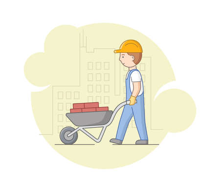 Illustration for Construction And Heavy Labor Works Concept. Worker In Protective Uniform And Helmet Carrying Bricks On Wheelbarrow. Construction Worker At Work. Cartoon Linear Outline Flat Style. Vector Illustration. - Royalty Free Image