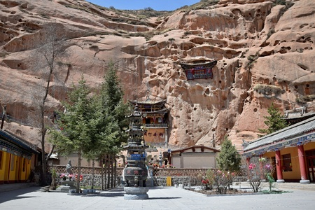 Mati Temple, the Horse´s Hoof Temple, near city of Zhang Ye in Gansu province in China.