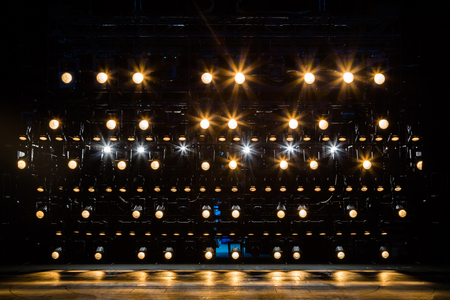 Photo for Spotlights & lighting equipment for the theater. Yellow light. - Royalty Free Image