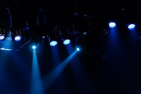 Lighting equipment in the theater. Spotlights and light sources.