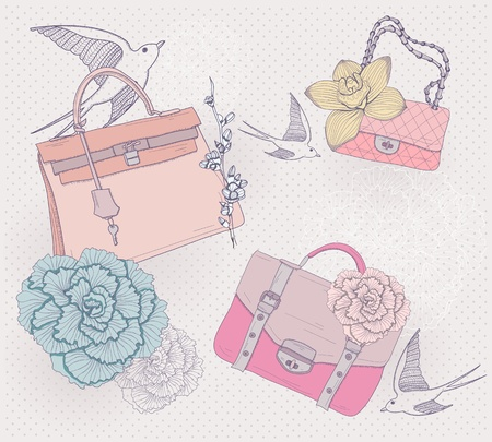 Fashion illustration. Background with fashionable bags, flowers and birds. Invitation or birthday card.