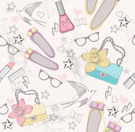 Cute fashion seamless pattern for girls  Pattern with shoes, bags, cosmetic, makeup elements, glasses and birds