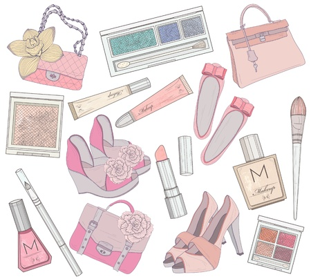 Women shoes, makeup and bags element set  Cosmetic product, footwear, purses and accessories vector illustration