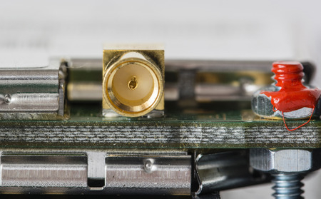 Female gold-plated connector on a printed board.