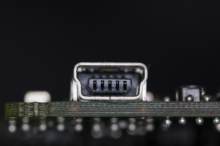Mini USB connector on printed circuit board.