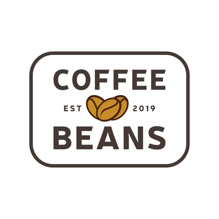 Coffee Beans logo vintage. Coffee shop template. Restaurant label. Cafe house label. Graphic design element for business cafe, bar, pub. Vector Illustration isolated on background. Label product.