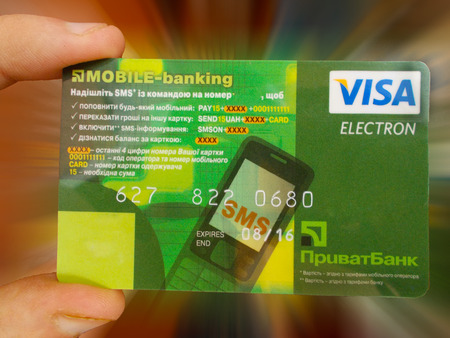 User bank is holding your credit cardのeditorial素材