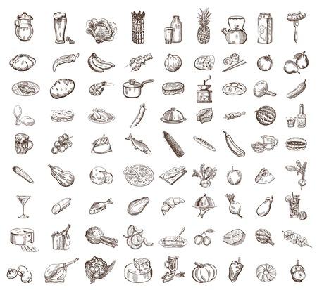 vector image of black food big set