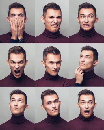 Photo pour Set of young mans portraits with different emotions and gestures - image libre de droit