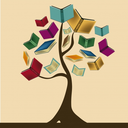 Illustration pour a beautiful tree composed by books representing knowledge - image libre de droit