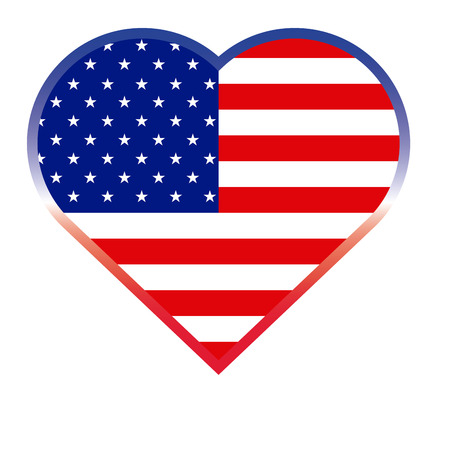 Isolated heart shaped button with the american flag, Vector