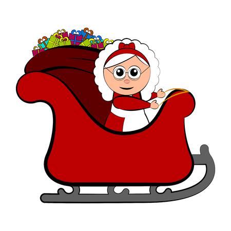 Mrs. Claus on a christmas sledge. Vector illustration design