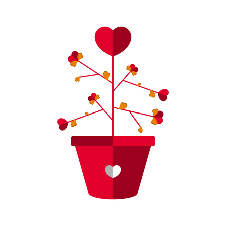 Plant with heart flowers. Love icon. Vector illustration design