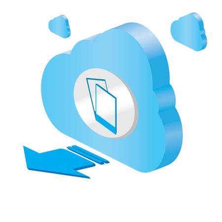 Illustration pour 3d cloud computing icon with photography symbols - Vector - image libre de droit